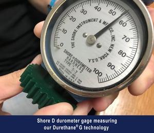 Shore D Durometer Gage measuring MPC Durethane G
